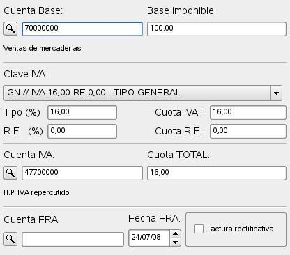 factura calculo iva incrementado