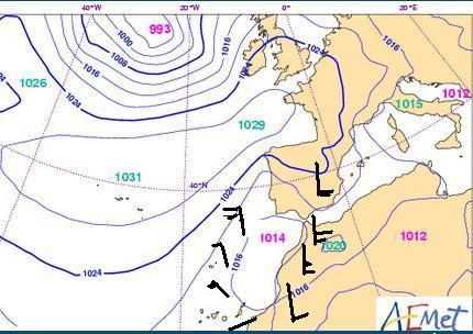 mapa de isobaras meteorologia