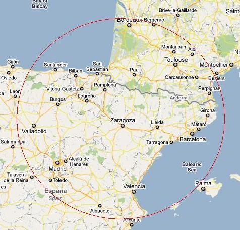 circulo de zaragoza en unos 350 km
