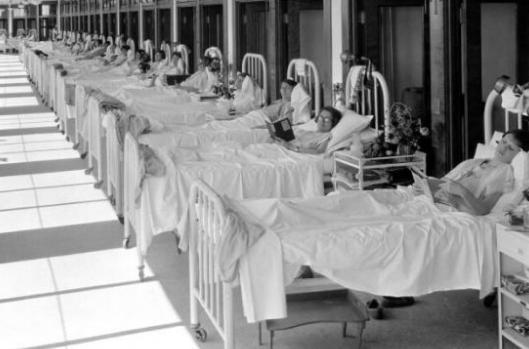 enfermos de tuberculosis en sanatorio