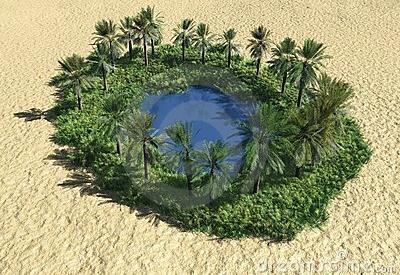 oasis en mitad del desierto arido