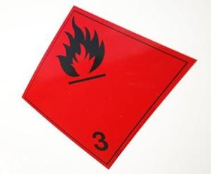 etiqueta de riesgo material inflamable